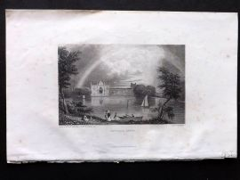 Finden works of Byron C1835 Antique Print. Newstead Abbey, Nottinghamshire